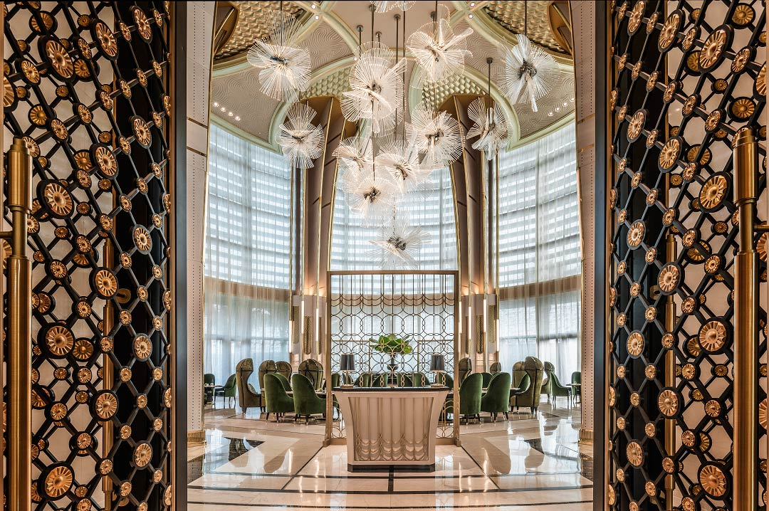 Entering Palm Court, the hotel's richly decorated venue for all-day dining