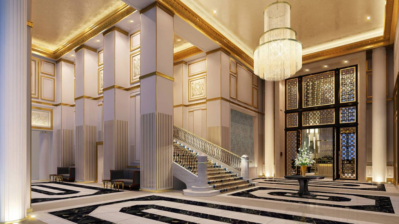 The sumptuous hotel lobby