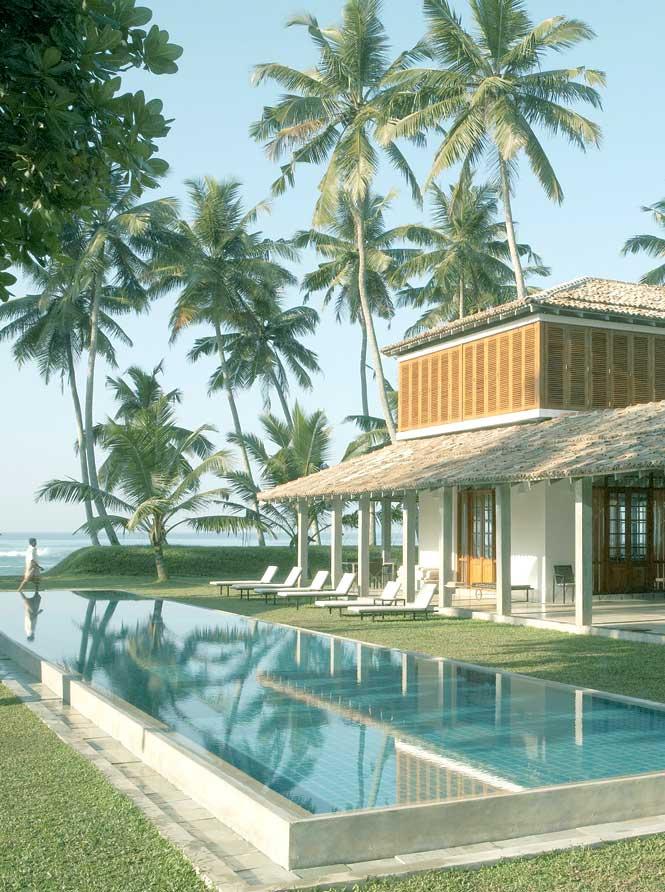 The main pool at Sri Lanka's Frangipani Tree, a 10-suite beachfront hideaway near Galle Fort.