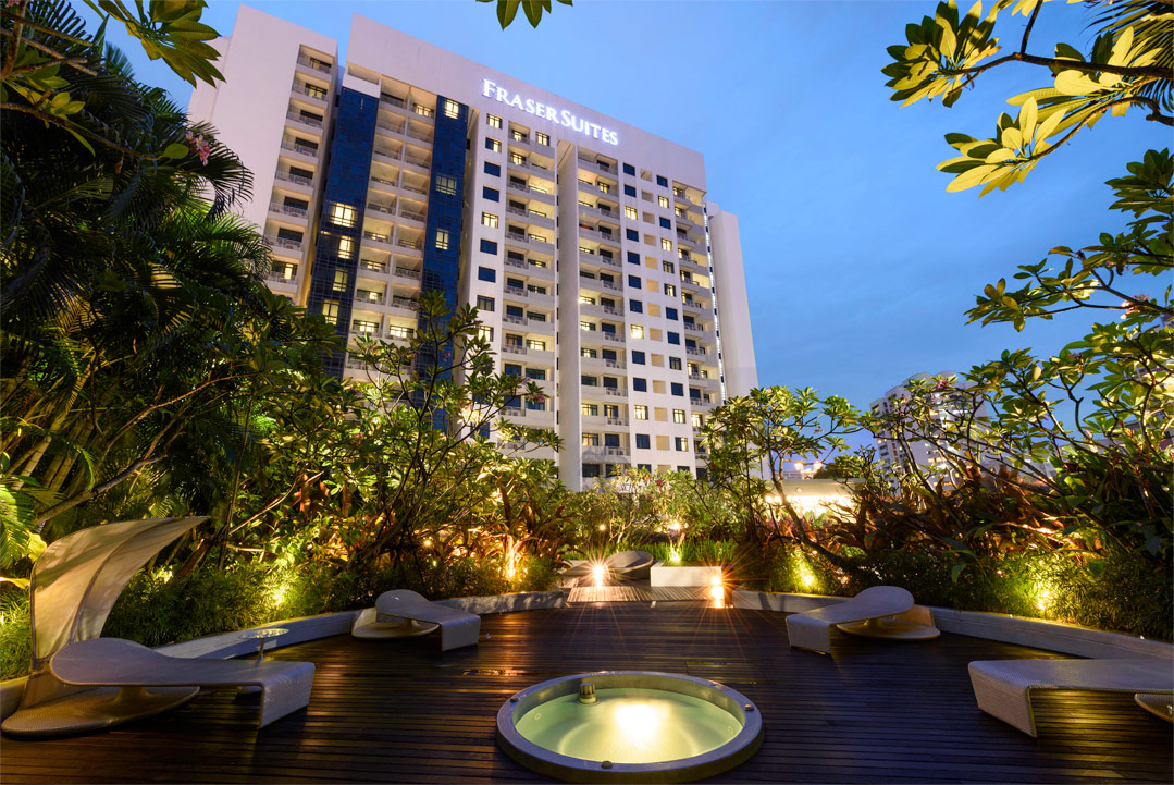 Fraser Suites Singapore from its rooftop relaxation garden