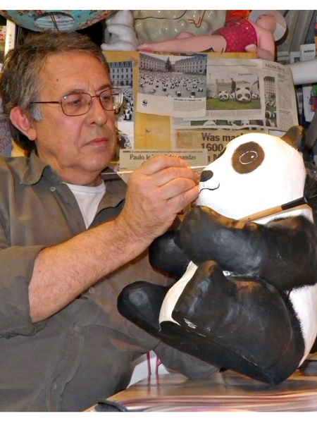 French artist Paulo Grangeon created the pandas from recycled material.