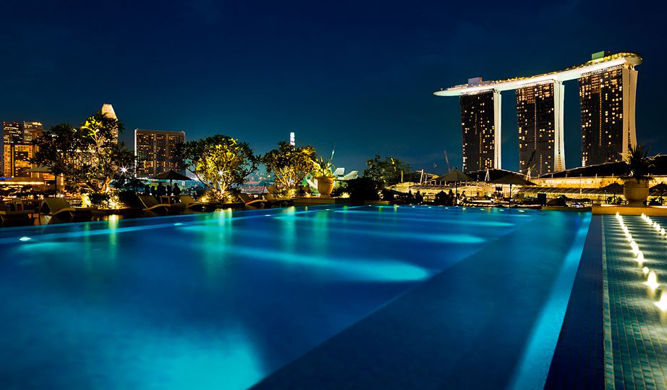 The pool at Fullerton Bay Hotel.