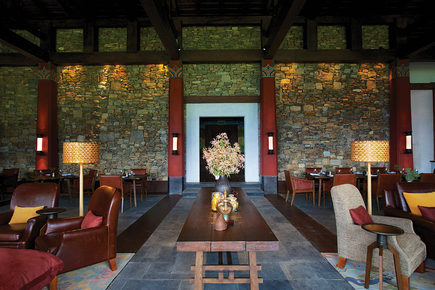 The Gangtey Goenpa Lodge's architecture was inspired by the country's rural farmhouses.
