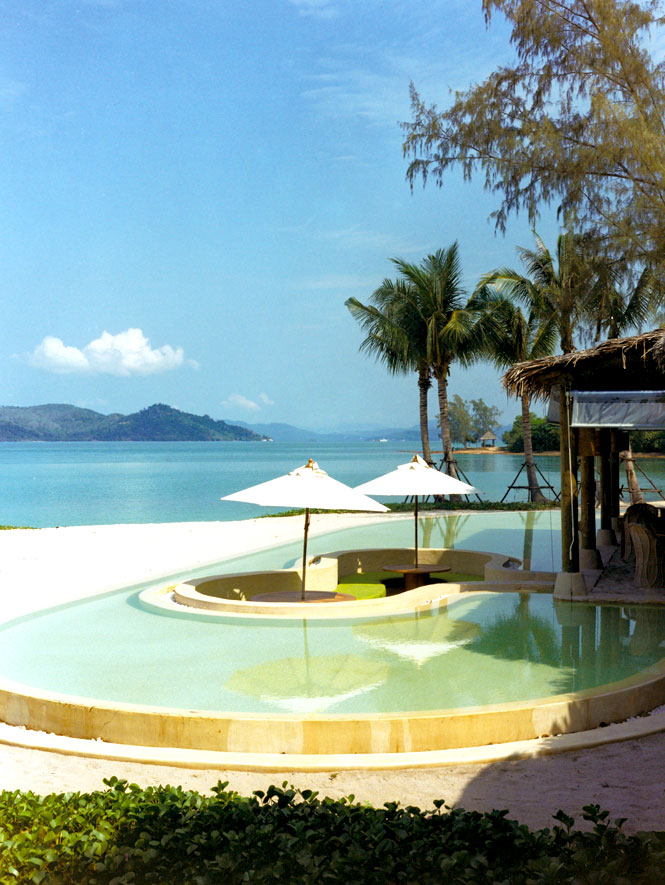 A beachside reflecting pool at The Six Senses Destination Spa.