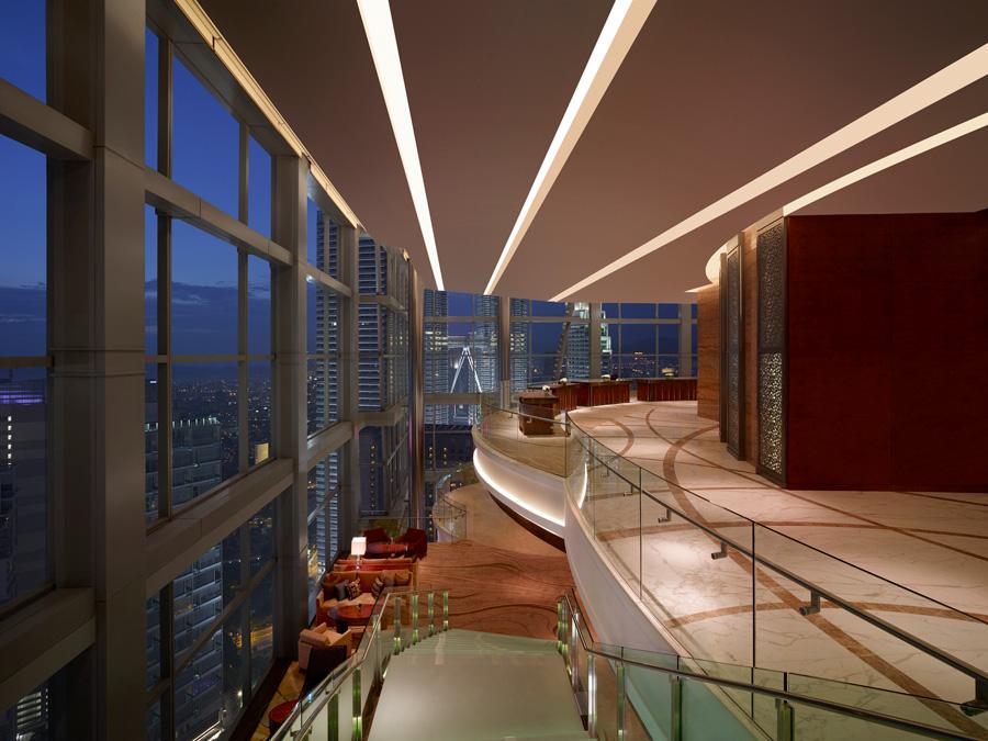Kuala Lumpur's first sky lobby check-in.