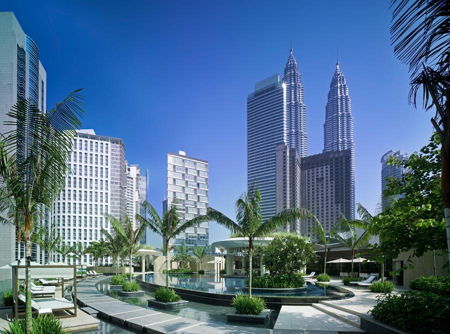 Swim with the skyscrapers at the Grand Hyatt Kuala Lumpur.