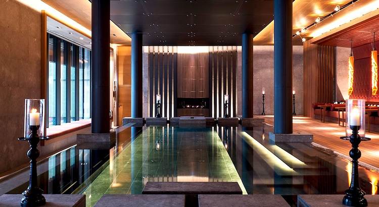 The hydrothermal pool at The Chedi Andermatt.
