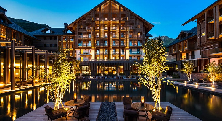 The Courtyard at The Chedi Andermatt puts on display the rustic Alpine charm.