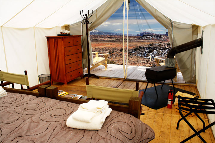 Looking out from a Deluxe Safari Tent.