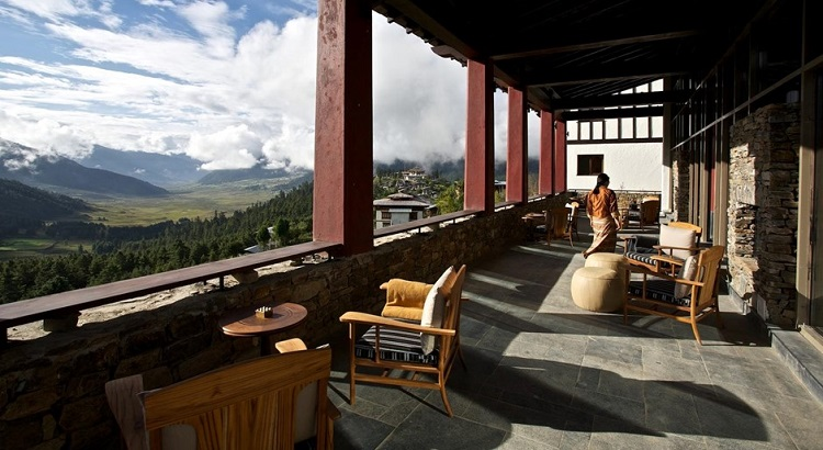 A view of the surrounding mountains and farms from the terrace.