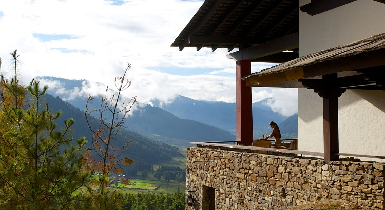 The lodge can be found in the remote Phobjikha Valley.