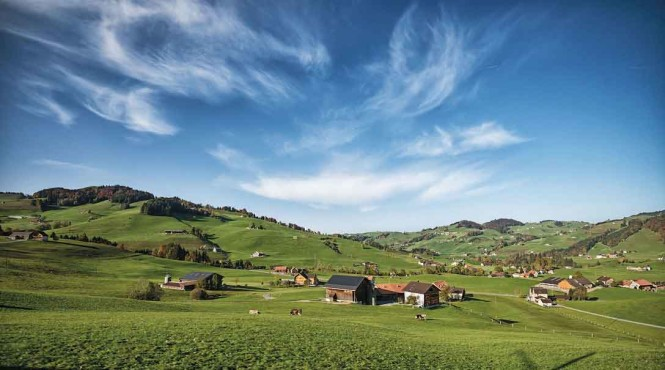 Rolling countryside in the Appenzell area. Photo from Assalve/Getty Images.