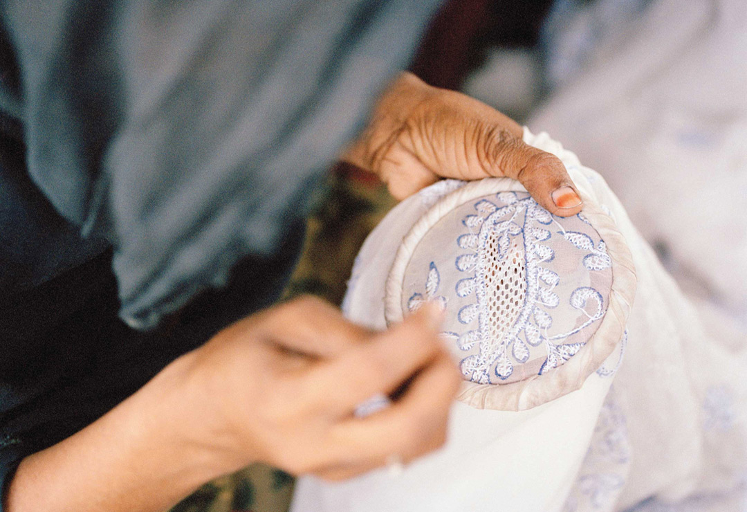 Making chikan, a traditional embroidery from Lucknow.
