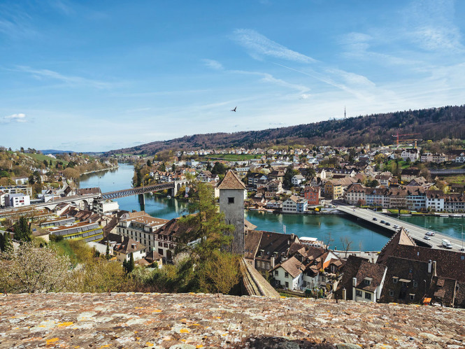 Looking southeast from the battlements of Shaffhausen's 16th-century Munot fort, with the Rhine River flowing downstream from Stein am Rhein. Photo from Getty Images.