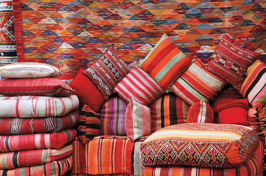Colorful Moroccan textiles in Marrakech (Getty Images).