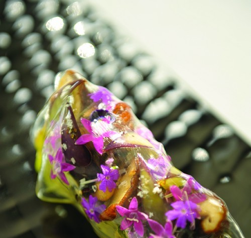 Sauteed Kyoto Eggplant with Shiitake Mushrooms and Edible Flowers overlaid with a film of Tomato Jelly