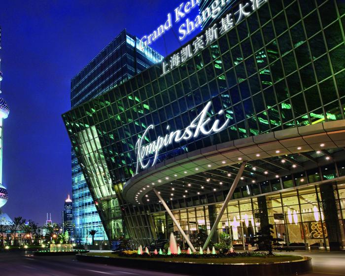 The exterior of Grand Kempinski Shanghai sports a modern look.