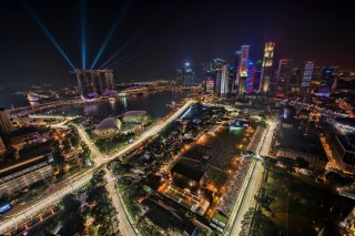 A bird's-eye view of Singapore during the Formula One night race.