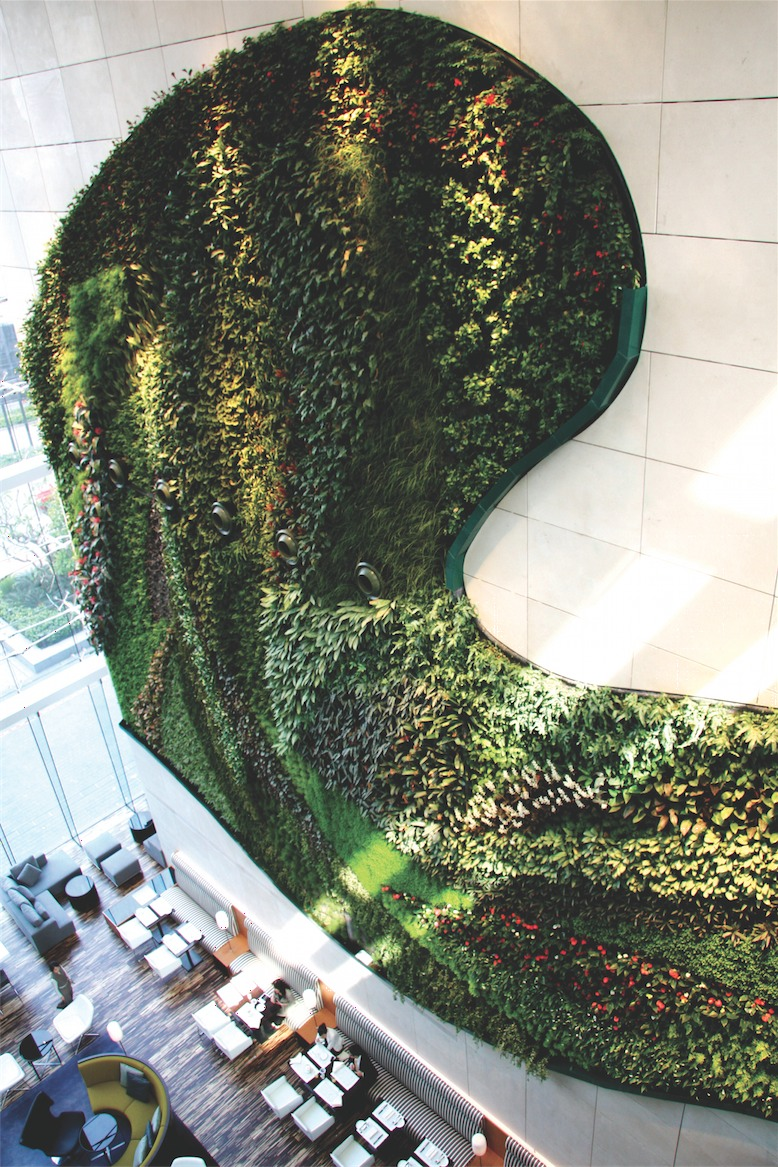 The vertical garden at Hotel Icon.