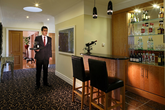 A personal butler is available 24-hour to assist guests.
