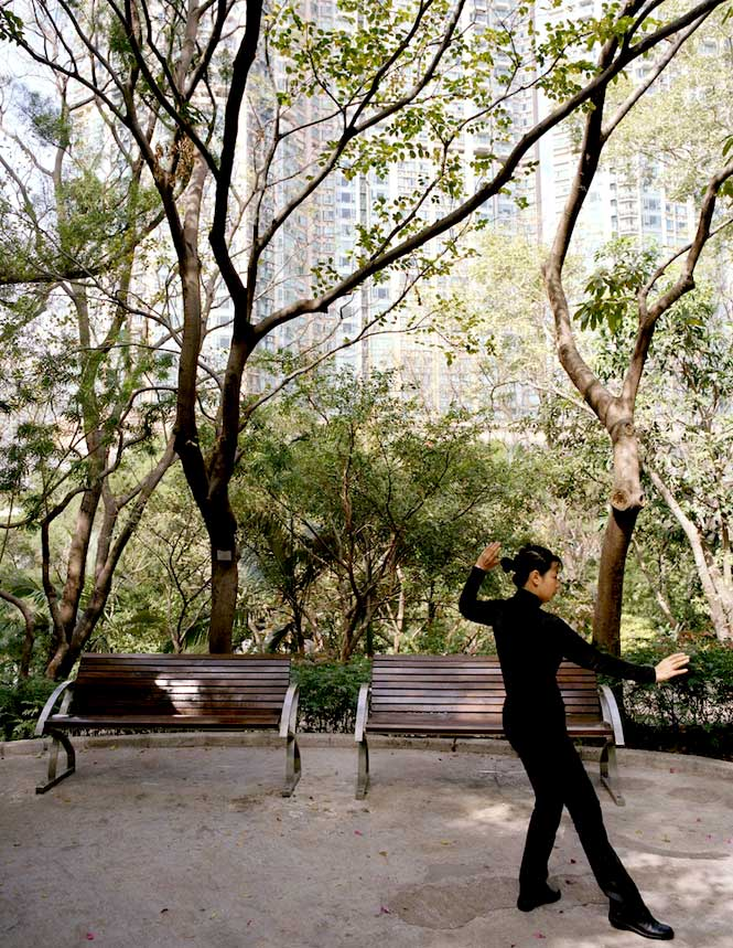 Early-morning tai chi in Kowloon Park.