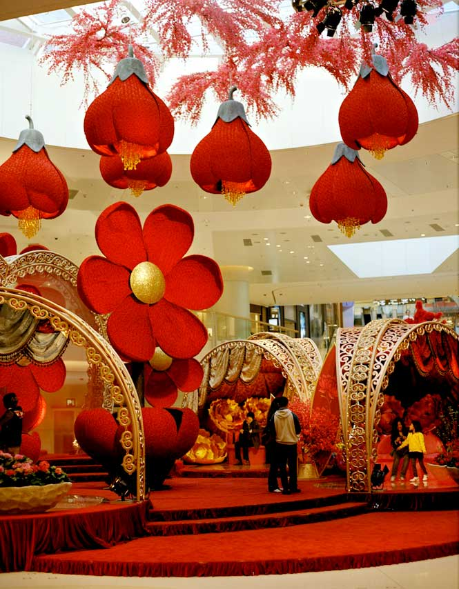 A festive display at the Elements shopping mall.