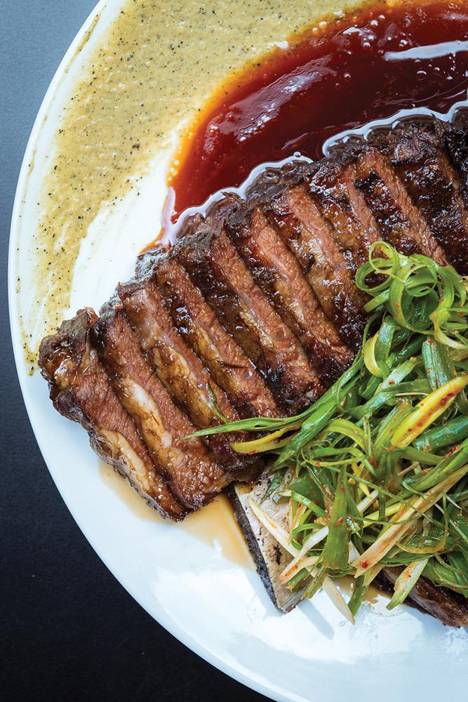 Roast wagyu short ribs with jalapeno puree at Ho Lee Fook.