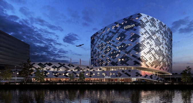 The Hilton Amsterdam Airport Schiphol exterior.