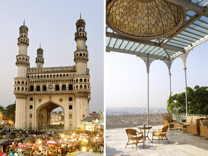 Presiding over a busy intersection in the old city, the 16th-century Charminar is Hyderabad's most iconic monument