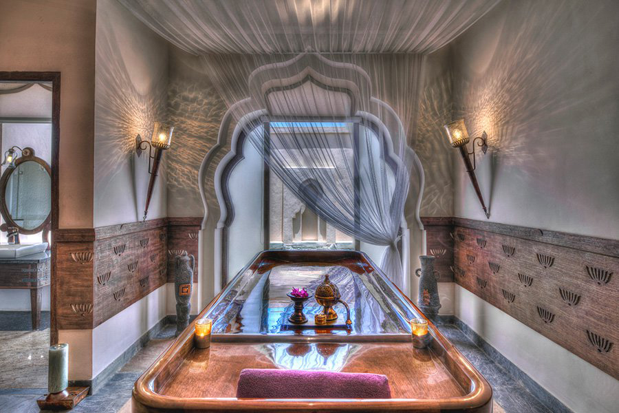 The property's on-site spa takes its inspiration from the Lotus Mahal.