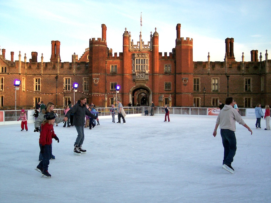 Skaters at the 900-square-meter rink outside Hampton Court Palace.