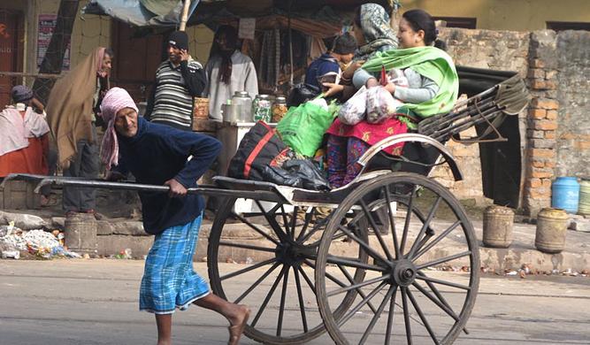 Hand pulled rickshaw at Dalhousie Square in Kolkata