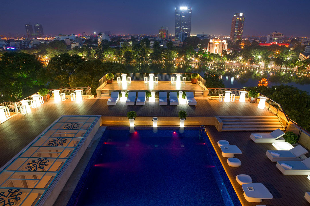Panoramic views from the rooftop pool at Apricot Hotel.