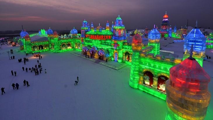 The Harbin Ice & Snow Festival in China.