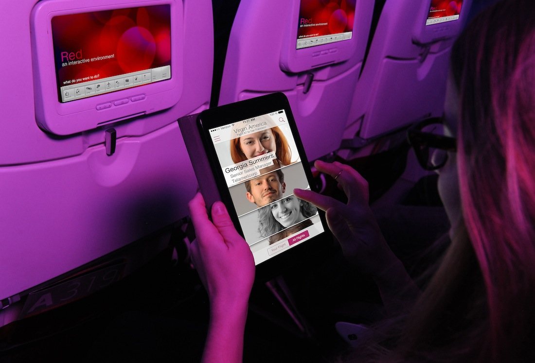 Use Virgin America's Gogo In-Flight WiFi network to access the application.
