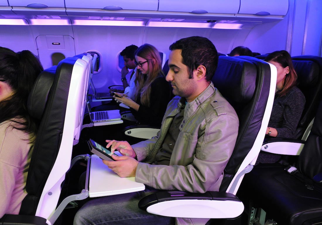 Network with fellow flyers with Virgin America's Here On Biz application.
