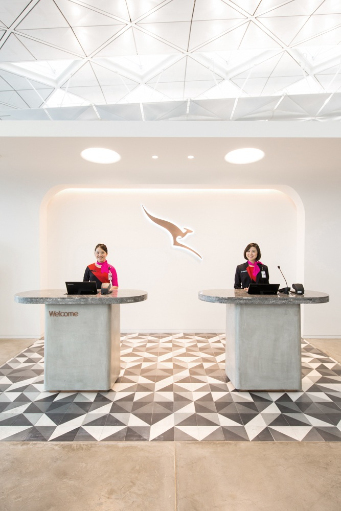 The entrance to the newest Qantas lounge.