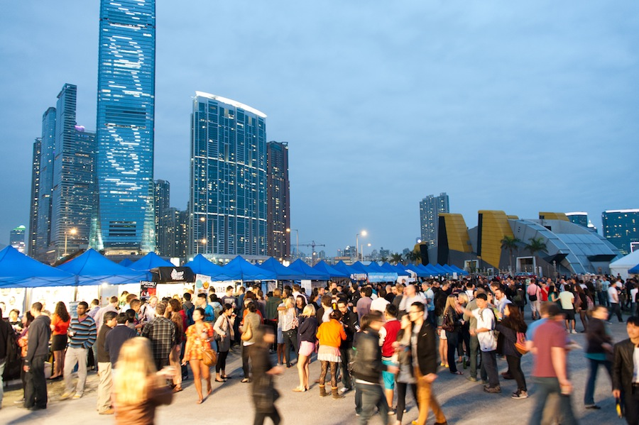 The tents lining the Central Harbourfront for Hong Kong's Beertopia.