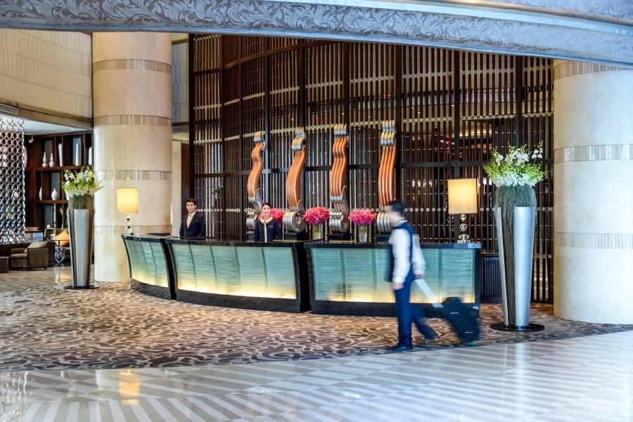 The lobby at Pullman Grande Sukhumvit.