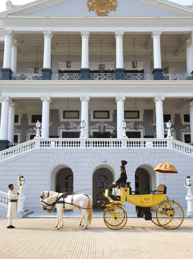 A horse-drawn carriage at The Taj Falaknuma Palace.