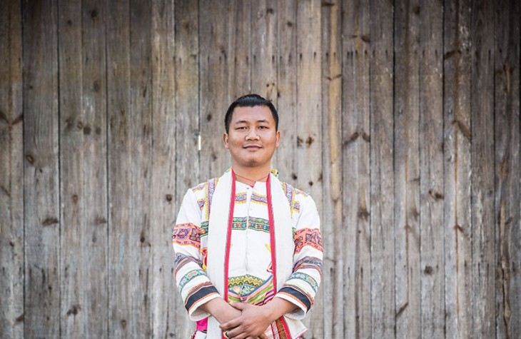 A Jinuo man in Bapo village, one of several minority communities in the mountains of Xishuangbanna.