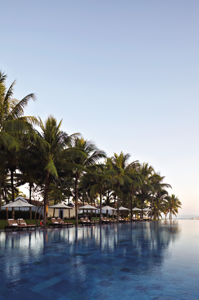 The sea might not always be swimmable off Ha My Beach, but guests at the elegant Nam Hai, a 30-minute drive from Danang, have an Olympic-size pool as compensation, not to mention a host of other indulgences.