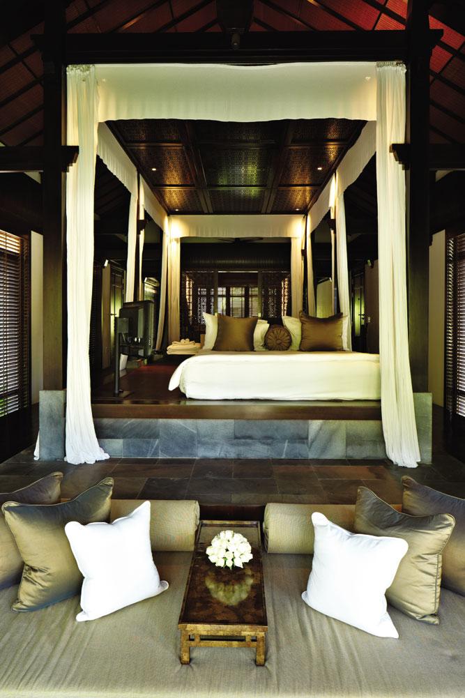 Centered on platform beds, the Nam Hai's villas evoke the form of vernacular garden houses