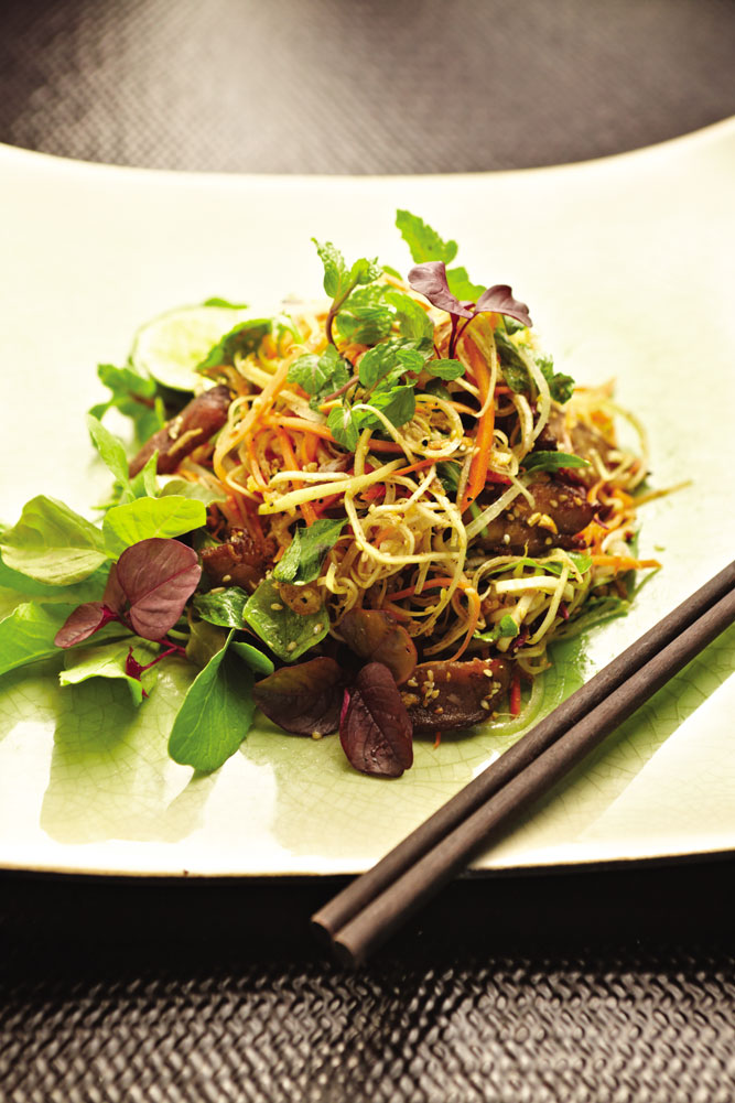 A banana blossom salad with barbecued pork at the resort's Restaurant
