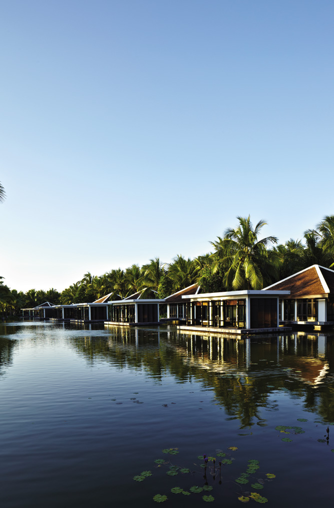 Relaxation rooms at the spa are built above a lotus pond