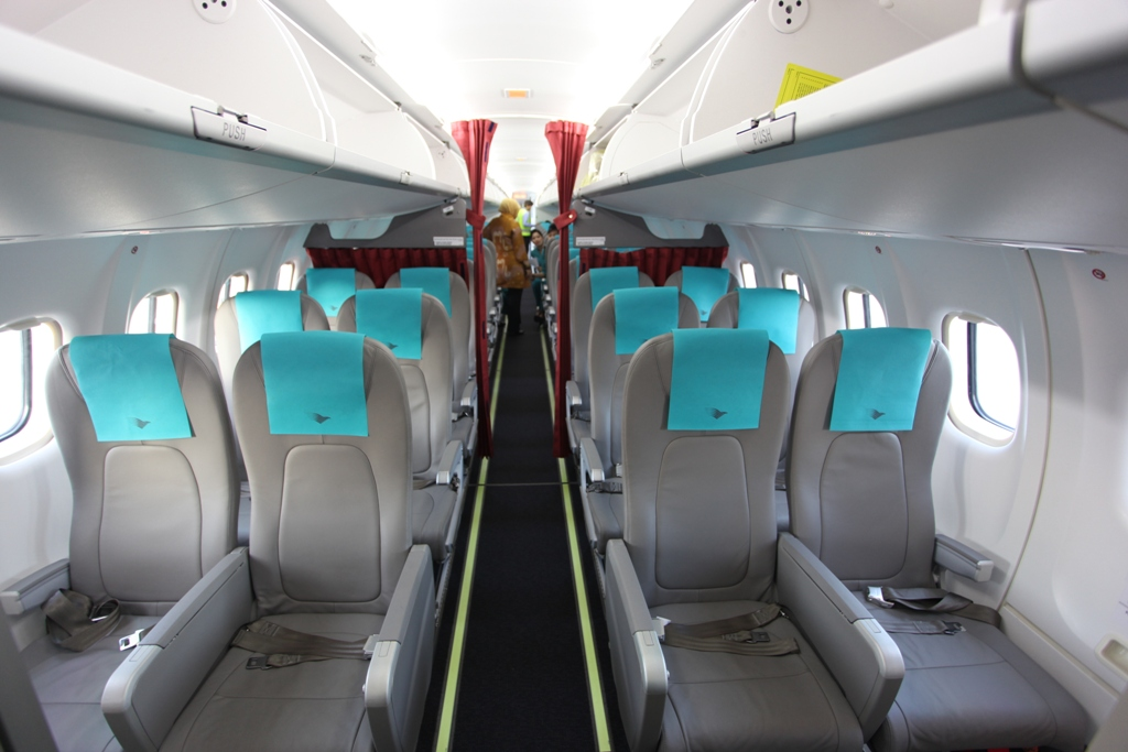 The interior of Garuda's ATR72-600 cabin.