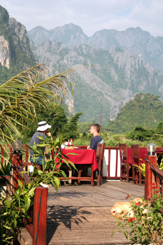 On the dining terrace at Vang Vieng's Elephant Crossing Hotel