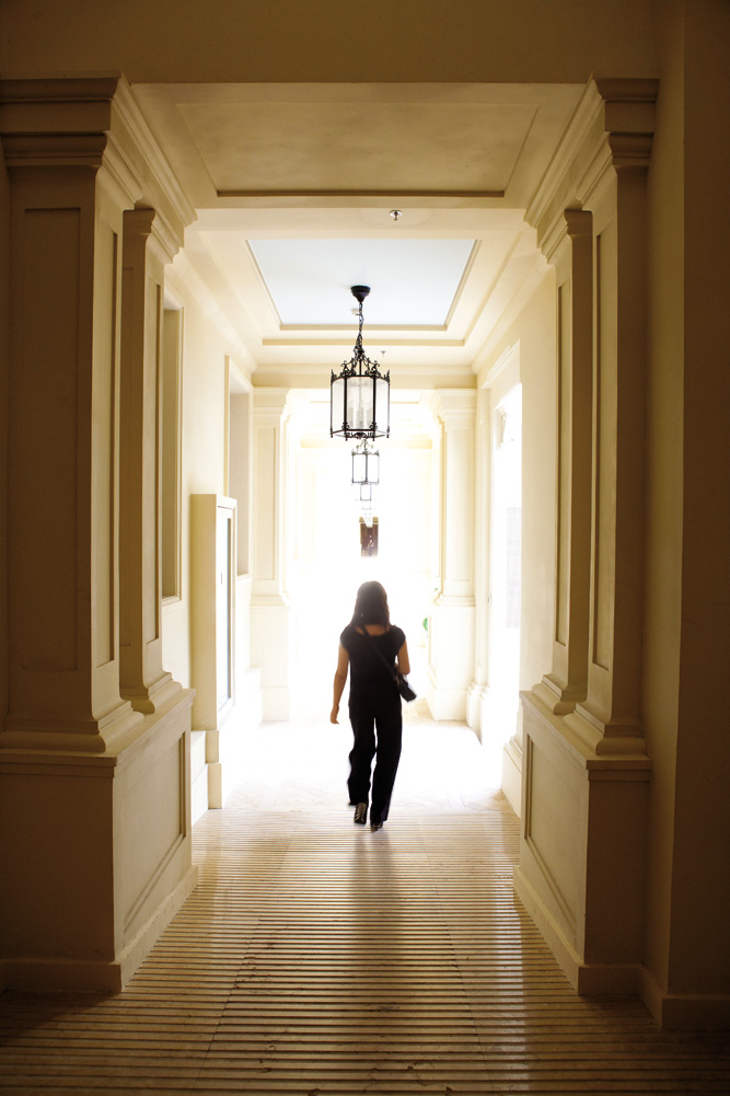 A hallway at the historic Astor Hotel.