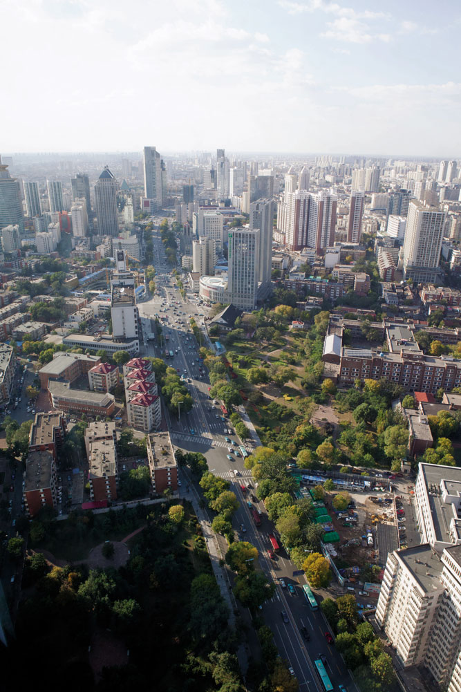 Looking east along Nanjing Road from a tower in Tianjin's Heping District.