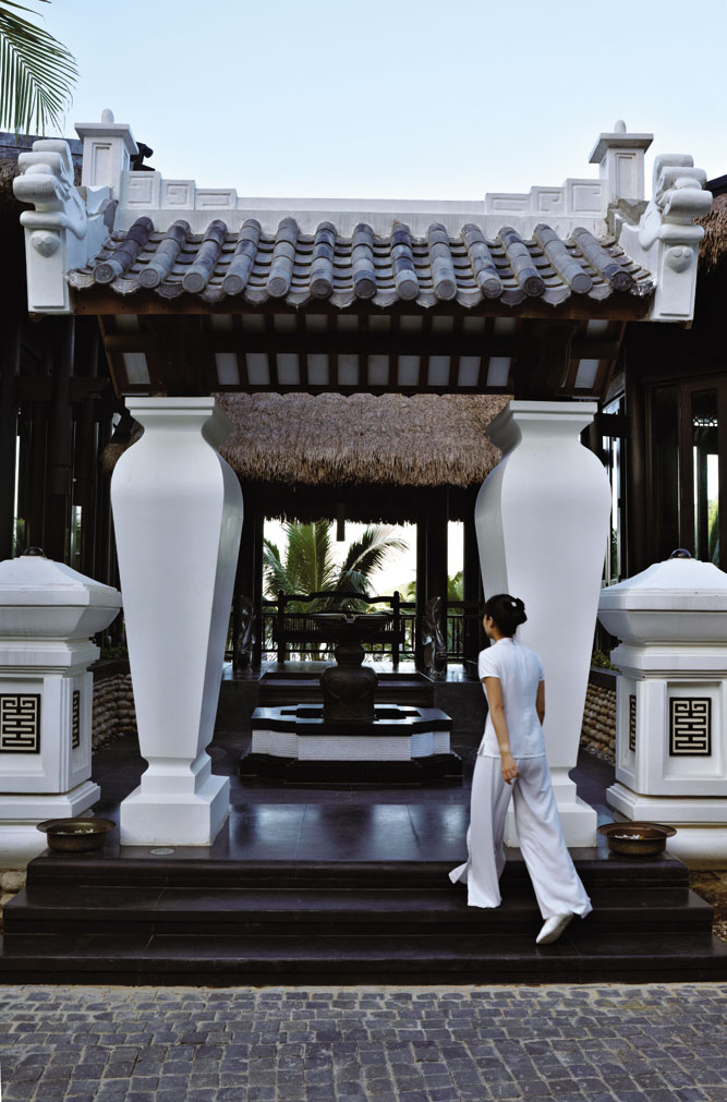 At the entrance to the resort's spa